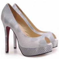 Louboutin Women's Altadama 140mm Peep Toe Pumps Python