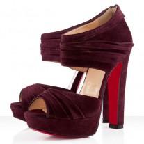 Louboutin Women's Applique 140mm Ankle Boots Plum