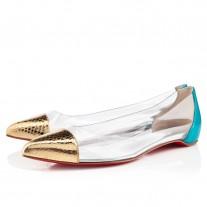 Louboutin Women's Corbeau Flat Sandals Gold/Caraibes