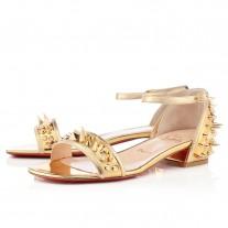 Louboutin Women's Druide Flat Sandals Gold Sale