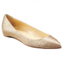 Louboutin Women's Pigalle Glitter Ballerinas Gold