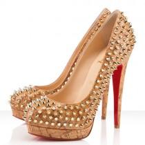 Louboutin Women's Bianca Spikes 140mm Platforms Gold