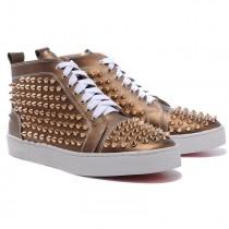 Louboutin Men's Louis Gold Spikes Sneakers Bronze
