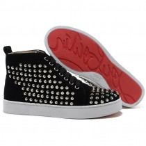 Louboutin Men's Louis Silver Spikes Sneakers Black