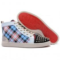 Louboutin Men's Louis Spikes Sneakers Blue