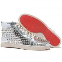 Louboutin Men's Louis Spikes Sneakers Silver