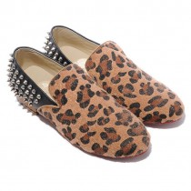 Louboutin Men's Rollerboy Silver Spikes Loafers Leopard