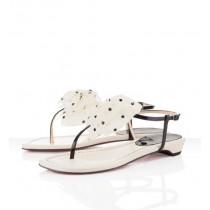 Louboutin Women's Vaudou Flat Sandals Ivory