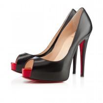 Louboutin Women's Vendome 120mm Peep Toe Pumps Black/Red