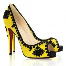Louboutin Women's Very Brode 120mm Peep Toe Pumps Yellow