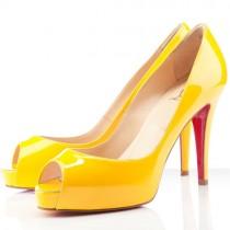 Louboutin Women's Very Prive 100mm Peep Toe Pumps Yellow Sale