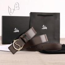 Christian Louboutin 3.5cm width Dark Brown Leather Belts