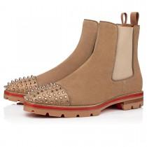 Christian Louboutin Ankle Boots Melon Spikes Flat Brown Veau Velours Men