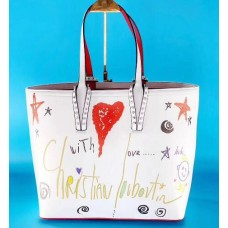 louboutin leather Handbag white With Graffiti pattern