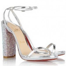 Louboutin Women's Au Palace 120mm Sandals Silver