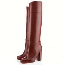 Louboutin Women's Dartata 80mm Boots Chocolate