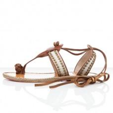 Louboutin Women's Hola nina Flat Sandals Brown