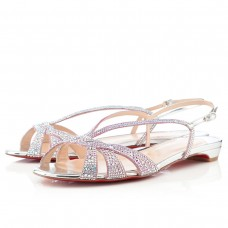 Louboutin Women's Lady strass Flat Sandals Silver