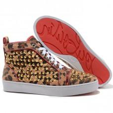 Louboutin Women's Louis Gold Spikes Sneakers Leopard