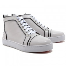 Louboutin Men's Louis Jeweled Sneakers White