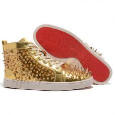 Louboutin Men's Louis Pik Pik Sneakers Gold