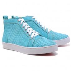 Louboutin Women's Louis Python Sneakers Blue Sale