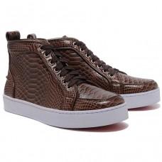 Louboutin Women's Louis Python Sneakers Brown