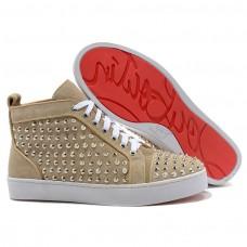Louboutin Women's Louis Silver Spikes Sneakers Beige Outlet