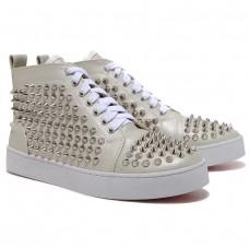 Louboutin Women's Louis Silver Spikes Sneakers Beige