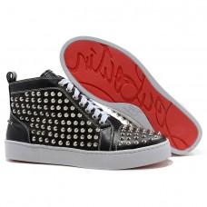 Louboutin Women's Louis Silver Spikes Sneakers Black Sale