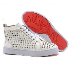 Louboutin Women's Louis Silver Spikes Sneakers White