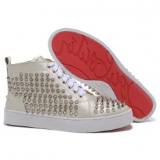 Louboutin Men's Louis Spikes Sneakers Beige
