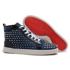 Louboutin Men's Louis Spikes Sneakers Blue Sale