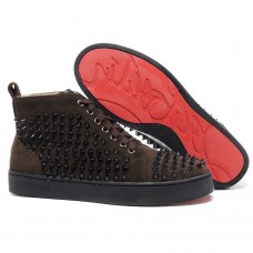 Louboutin Women's Louis Spikes Sneakers Chocolate
