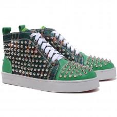 Louboutin Women's Louis Spikes Sneakers Green