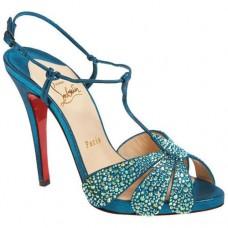 Louboutin Women's Margi Diams 120mm Sandals Turquoise