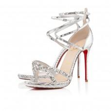Louboutin Women's Monocronana 120mm Sandals Silver
