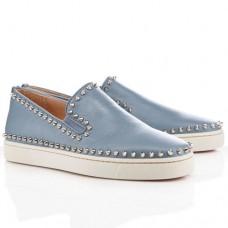 Louboutin Men's Pik Boat Sandals Light Grey