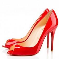 Louboutin Women's Sexy 100mm Peep Toe Pumps Red