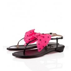 Louboutin Women's Vaudou Flat Sandals Black/Pink