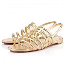 Louboutin Women's Vildo Flat Sandals Gold