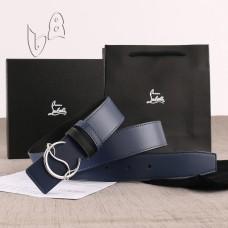 Christian Louboutin 3.5cm width Navy Leather Belts