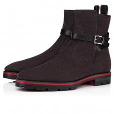 Christian Louboutin Ankle Boots Kicko Croc Flat Grey Calf Men
