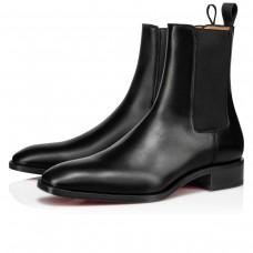 Christian Louboutin Ankle Boots Samson Orlato Flat Black Leather Men
