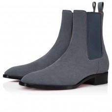 Christian Louboutin Ankle Boots Samson Orlato Flat Grey Calf Men