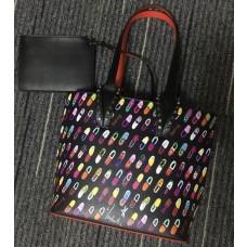 louboutin leather Handbag black With Color regular printing pattern