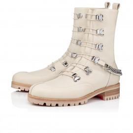 Christian Louboutin Ankle Boots Horse Guarda Flat White/silver Calf Women